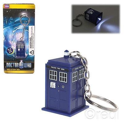 New Doctor Who TARDIS Keyring LED Torch Keychain BBC Official