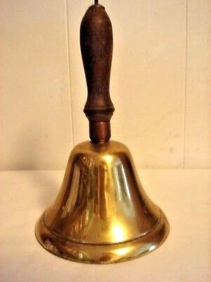 Vintage Large Brass Wooden Handle  Bell 11 in. X 6 3/4 in.