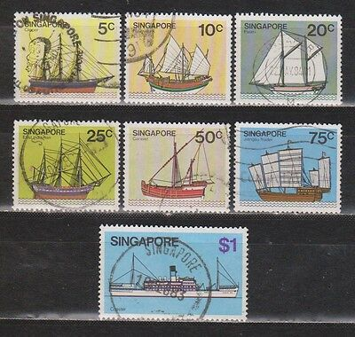 Singapore - 1980 - Ships - 7 Different Stamps