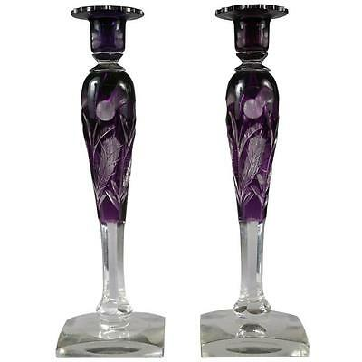 Rare Pair of Large Steuben Amethyst Thistle Pattern Candelabras