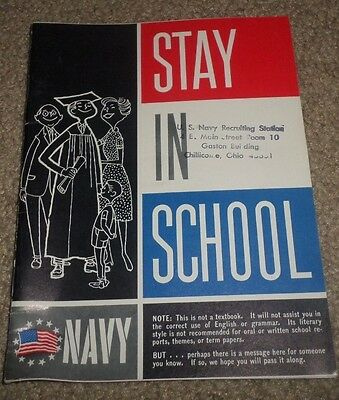 1963 Us Navy Stay In School Recruit Ephemera Booklet Book Chillicothe
