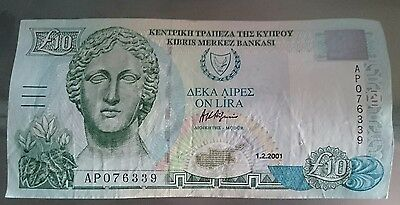 2001 £10 Central bank of Cyprus 10 Pounds