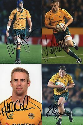 Australia Wallabies Signed Rugby Photos x 4. Sharpe,Mitchell,Chisholm + Slipper.