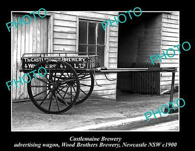 OLD LARGE HISTORIC PHOTO OF CASTLEMAINE BREWERY WOOD BROS WAGON, NEWCASTLE c1900