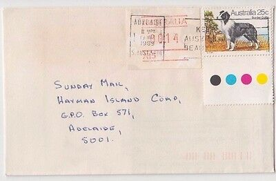 Stamp 24c Dog uprated 14c Possum Frama with cliche A15 on cover 1989 Adelaide
