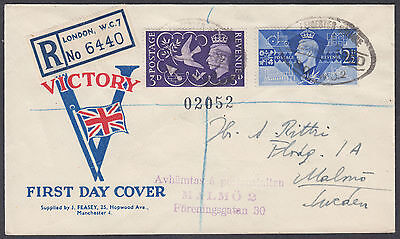 1946 KGVI Victory Illustrated Registered FDC, Leicester Square oval to Malmo