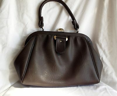 Vintage 60's Dark Taupe Faux Leather Handbag in Excellent Condition
