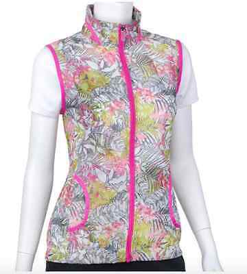 NWT EP Pro Country Club Mai Tai Women's Pink Tropical Floral Print Vest Golf M