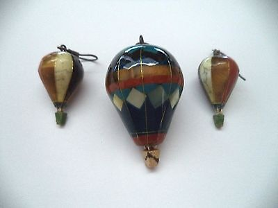Hot air ballon *vintage* pendant and earring set with colorful enamel