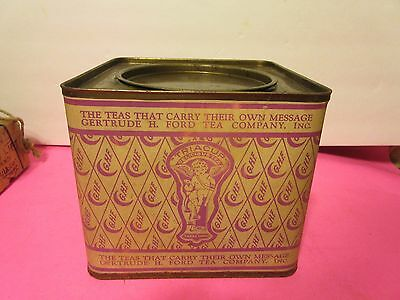VINTAGE ANTIQUE Gertrude H. Ford Tea Company TIN