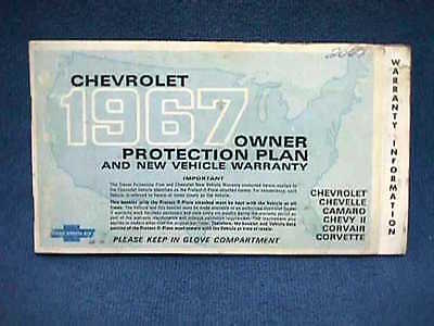 1967 CHEVROLET Owner PROTECTION PLAN Booklet 2nd Ed. + ORIGINAL Protect-O-Plate