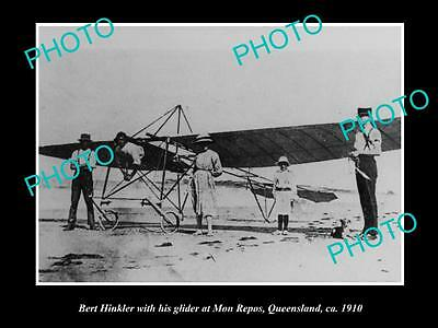 OLD LARGE HISTORIC PHOTO OF AVIATION PIONEER BERT HINKLER & HIS GLIDER c1910 QLD