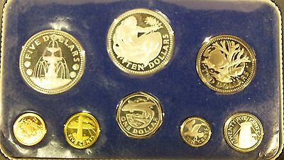 1973 Barbados 8 Coin Silver Proof Set PS-1 1.927 ASW Original Mint Case #2
