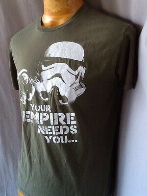 STAR WARS T-shirt Green White Storm Trooper 100% Cotton Official Size M