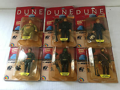 Dune Action Figure Complete Set of 6 1984 LJN - On Cards but Significant Wear
