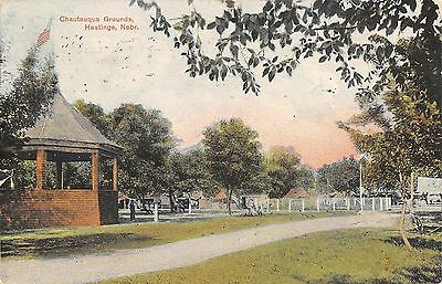 Hastings Nebraska~Chautauqua Grounds~Booths~Tents~Band Stand~1909 Postcard