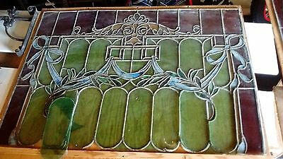 "Antique Stained Glass Window 33 3/4"" x 46 1/2"" Pick Up Only"