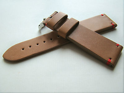 Cinturino Vintage In Cuoio Naturale Cuciture Rosse Ansa 22Mm Watch Band Strap