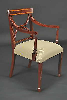 Cross Back Dining Room Chairs, Banded Satinwood on Solid Mahogany, 3 Arm Chairs