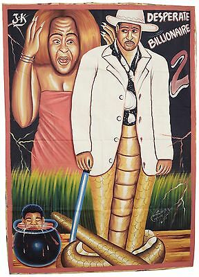 African Art Outsider Movie Poster Hand Painted Ghana Desperate Billionaire 2