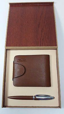 Vintage Victory Wallet and Pen Set in Box Brown Leather