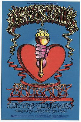 Iconic 68 Big Brother Janis Joplin Fillmore Postcard Bg136 Heart & Torch Griffin