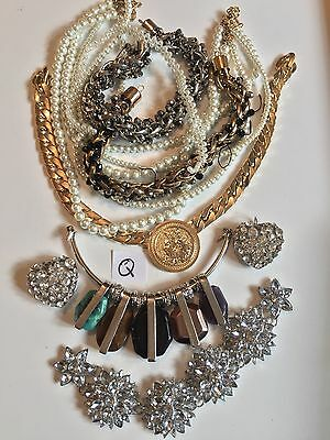 Job lot Q Diamanté Crystal Vintage Broken Jewellery Shabby Chic Crafts Up Cycle