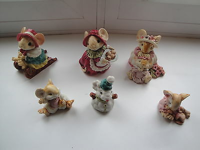 1991 Ganz Little Cheesers Christmas Snowman Mice Mouse W Cookie Lot Figurines