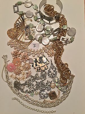 Job lot 7 Diamanté Crystal Vintage Broken Jewellery Shabby Chic Crafts Up Cycle