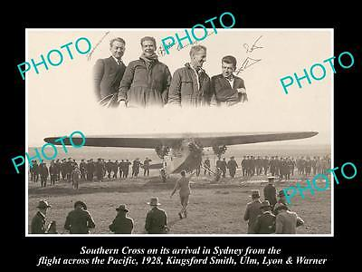 Old Large Historic Photo Of Kingsford Smith & Ulm, Southern Cross Flight 1928