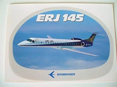 Embraer Erj145 Jet Rare Airline Aviation Trade Issue Sticker Label House Colours