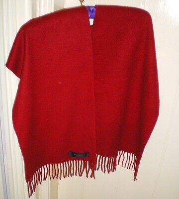 """JOHNSTONS OF ELGIN CASHMERE RED SCARF BEAUTIFUL QUALITY SO VERY SOFT 12"""" x 58"""""""