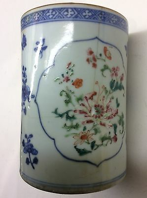 Early 19th Century Chinese Painted Mug or Coffee Can Flower and Insect Design.