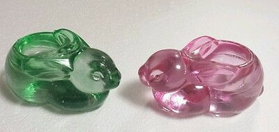 (2) Glass EASTER BUNNY Rabbit (Pink & Green) Candle Votive Holders Paperweights