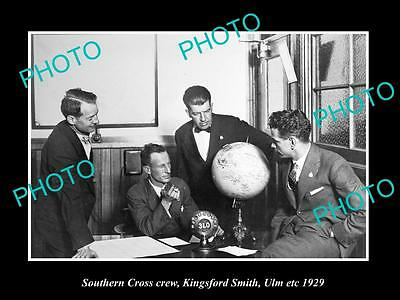 Old Historic Aviation Photo, Charles Kingford Smith & Southern Cross Crew 1929