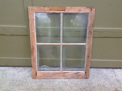 "Vintage Farmhouse Old Wood Sash Frame 4 Pane 24"" x 29 1/2"""
