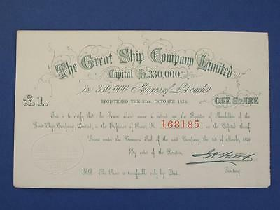 1859 Brunel 'the Great Steam Ship Company Limited' £1 Share Certificate.