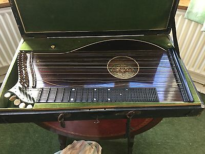 Vintage Rare Zither In Velvet Lined Case Made By Max Amberger Between 1839-1889