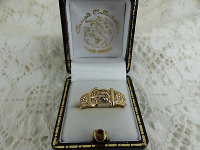 Vintage 9ct Gold Patterned Buckle Ring, size 'P 1/2'