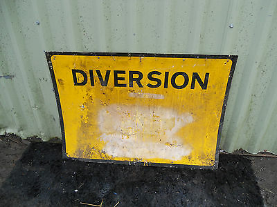 METAL Free STANDING Highway A-BOARD ROADSIGN Road Sign - DIVERSION Yellow