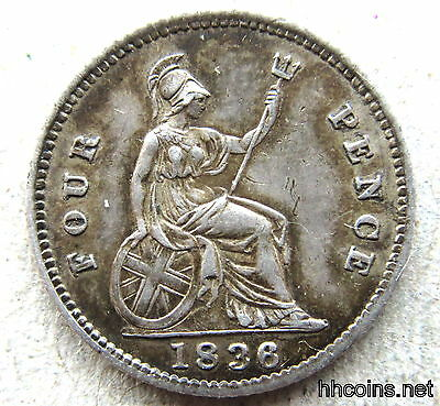 Great Britain William Iv 1836 Groat Four Pence, Patina Xf