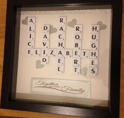 Scrabble Art Personalised Family Picture Frame Wedding Birthday Anniversary Gift