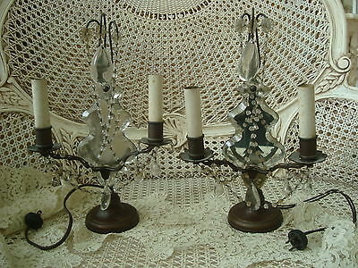 Two Fabulous Mirrored Antique French Girandoles Table Chandeliers Rare *as Is*