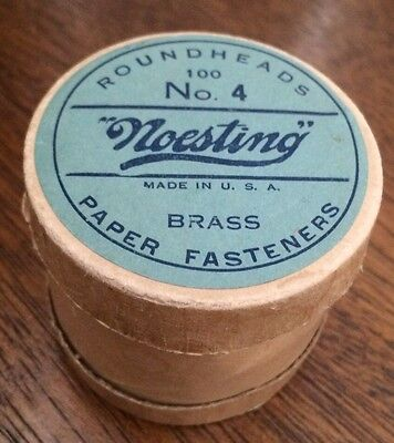 Noesting Brass Paper Fasteners Round Box Vintage Office Supply Container