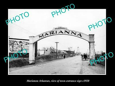 OLD LARGE HISTORIC PHOTO OF MARIANNA ARKANSAS, THE TOWN ENTRANCE SIGN c1920