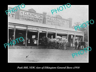 OLD LARGE HISTORICAL PHOTO OF PEAK HILL NSW, ELKINGTONS GENERAL STORE c1910