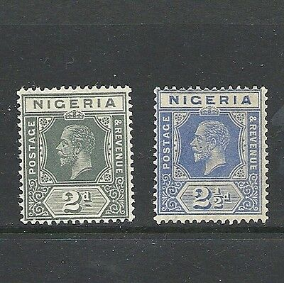 1914 King George V SG18 and SG21 2d grey 2 1/2d blue Mint Hinged NIGERIA