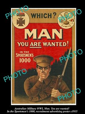 HISTORIC AUSTRALIAN ANZAC WWI MILITARY POSTER, MAN, YOU ARE WANTED c1915