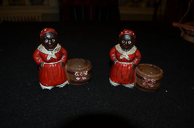 Pair of Vintage Cast Iron Aunt Jemima Tooth Pick/ Candle Holders