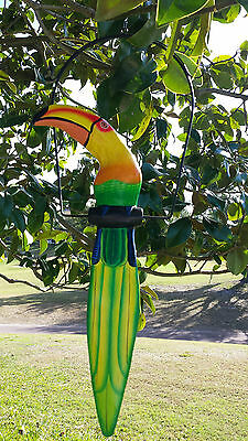 "Awesome 19"" Handcarved & Painted Wood Hanging Toucan W/ Metal Perch & Hook!"